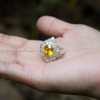 แหวนพลอยบุษราคัม แหวนเงิน ล้อมเพชร #2