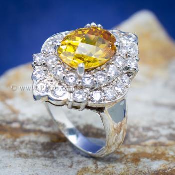 แหวนพลอยบุษราคัม แหวนเงิน ล้อมเพชร #5