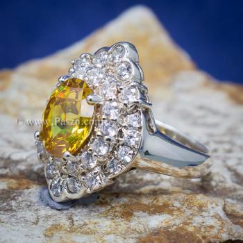 แหวนพลอยบุษราคัม แหวนเงิน ล้อมเพชร #4