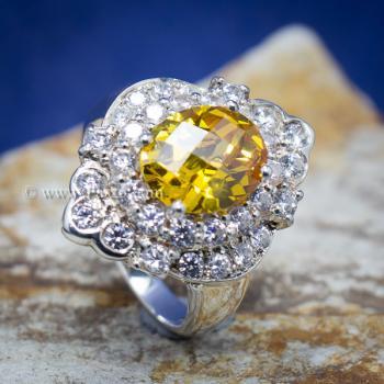 แหวนพลอยบุษราคัม แหวนเงิน ล้อมเพชร #6