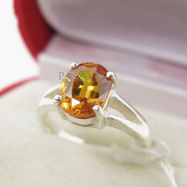 แหวนพลอยบุษราคัม สีเหลืองส้มหรือพลอยแม่โขง แหวนเงินผู้หญิง #3
