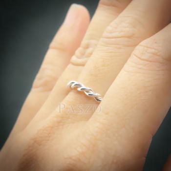 แหวนเกลียวเชือก สื่อความหมายถึงความผูกพัน แหวเเงินแท้ #5