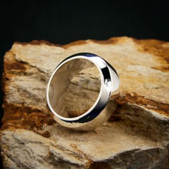 แหวนตะไบขอบเฉียง หน้ากว้าง8มิล แหวนเงินแท้ #2