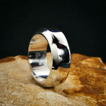 แหวนตะไบขอบเฉียง หน้ากว้าง8มิล แหวนเงินแท้ #3