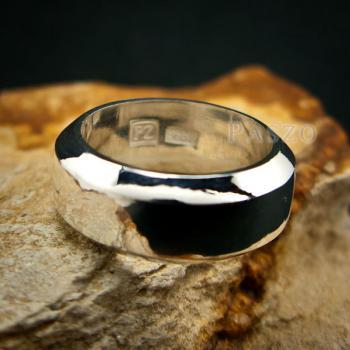 แหวนตะไบขอบเฉียง หน้ากว้าง8มิล แหวนเงินแท้ #5