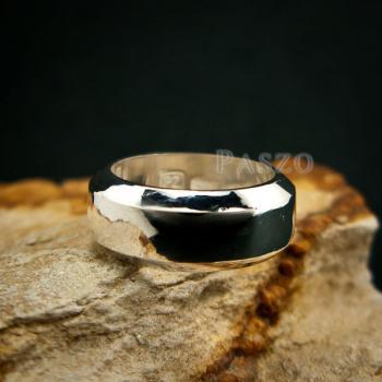 แหวนตะไบขอบเฉียง หน้ากว้าง8มิล แหวนเงินแท้ #6