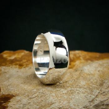 แหวนตะไบขอบเฉียง หน้ากว้าง8มิล แหวนเงินแท้ #7