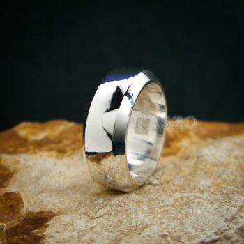 แหวนตะไบขอบเฉียง หน้ากว้าง8มิล แหวนเงินแท้ #8