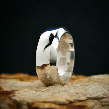 แหวนตะไบขอบเฉียง หน้ากว้าง8มิล แหวนเงินแท้ #9