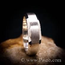 แหวนตะไบขอบเฉียง หน้ากว้าง8มิล ตรงกลางปัดด้าน แหวนเกลี้ยง แหวนเงินแท้