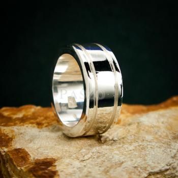 แหวนเซาะร่อง หน้ากว้าง10มิล แหวนเงินแท้ #3