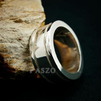 แหวนเซาะร่อง หน้ากว้าง10มิล แหวนเงินแท้ #6