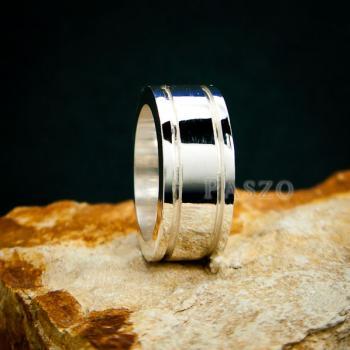 แหวนเซาะร่อง หน้ากว้าง10มิล แหวนเงินแท้ #7