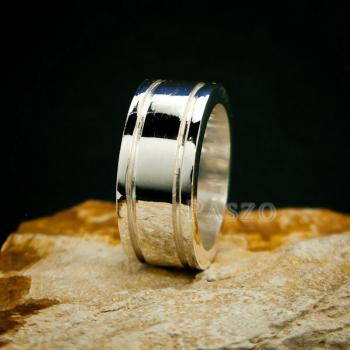 แหวนเซาะร่อง หน้ากว้าง10มิล แหวนเงินแท้ #8