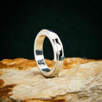 แหวนขอบลดระดับ หน้ากว้าง4มิล แหวนเงินแท้ #2