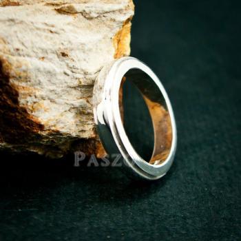 แหวนขอบลดระดับ หน้ากว้าง4มิล แหวนเงินแท้ #4