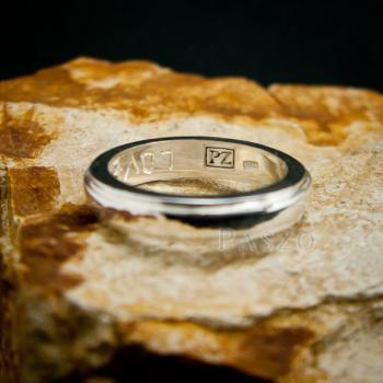 แหวนขอบลดระดับ หน้ากว้าง4มิล แหวนเงินแท้ #7