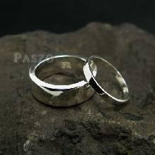 แหวนเงินคู่รัก แหวนเงินหน้าเรียบ ขอบตรง 1ชุด มี 2 วง แหวนเงิน 925