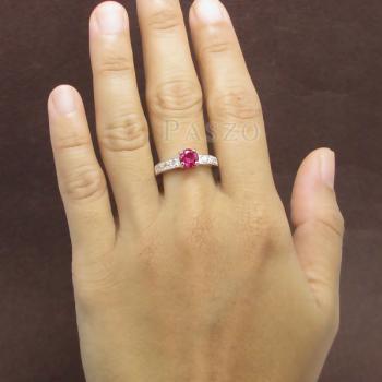 แหวนพลอยทับทิม เม็ดกลม สีแดง #2