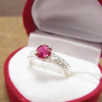 แหวนพลอยทับทิม เม็ดกลม สีแดง #3
