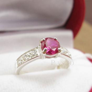 แหวนพลอยทับทิม เม็ดกลม สีแดง #4