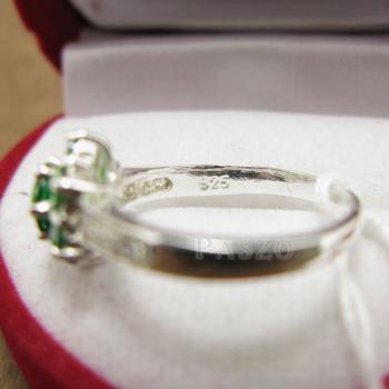 แหวนพลอยมรกต ประดับเพชร แหวนเงินแท้925 #3
