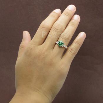 แหวนพลอยมรกต ประดับเพชร แหวนเงินแท้925 #4