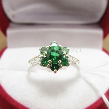 แหวนพลอยมรกต ประดับเพชร แหวนเงินแท้925 #5