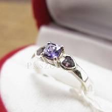 แหวนพลอยสีม่วง พลอย3เม็ด แหวนพลอยอะเมทิสต์ แหวนเงินแท้