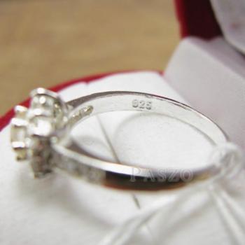 แหวนเพชร แหวนดอกพิกุล แหวนเงินฝังเพชร #4