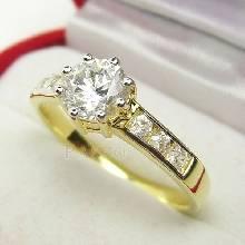 แหวนเพชร แหวนทองแท้ ฝังเพชร หนามเตยถี่