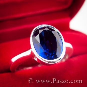 แหวนเงิน ฝังพลอยไพลิน พลอยสีน้ำเงิน #3