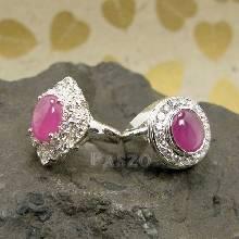 ชุดแหวนครบรอบแต่งงาน 15ปี และ 40ปี แหวนเงินแท้ ฝังพลอยทับทิมแท้ ล้อมด้วยเพชร  หรูหรา