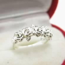 แหวนกุหลาบ แหวนมงกุฏดอกกุหลาบ แหวนเงินแท้ 925 แหวนรุ่นเล็ก
