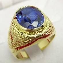 แหวนพลอยสีน้ำเงิน แหวนผู้ชายทองแท้ แหวนมอญ ฝังพลอยไพลิน พลอยสีน้ำเงิน แกะสลักลายไทย