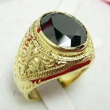 แหวนนิล แหวนพลอยสีดำ แหวนผู้ชาย แหวนทรงมอญ แกะสลักลายไทย แหวนทองแท้