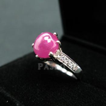 แหวนพลอยทับทิมแท้ บ่าฝังเพชร แหวนเงินแท้ชุบทองคำขาว #3