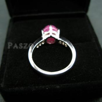 แหวนพลอยทับทิมแท้ บ่าฝังเพชร แหวนเงินแท้ชุบทองคำขาว #4