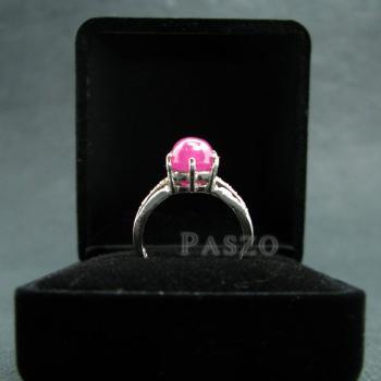 แหวนพลอยทับทิมแท้ บ่าฝังเพชร แหวนเงินแท้ชุบทองคำขาว #5