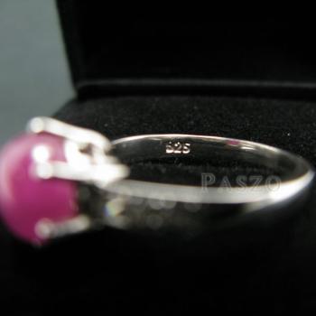 แหวนพลอยทับทิมแท้ บ่าฝังเพชร แหวนเงินแท้ชุบทองคำขาว #6