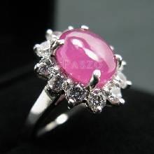 แหวนทับทิมแท้ ล้อมเพชร แหวนเงินแท้ ชุบทองคำขาว แหวนรุ่นใหญ่