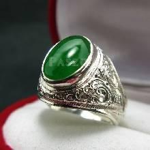 แหวนหยก แหวนผู้ชาย แหวนแกะลายไทย ฝังหยก แหวนผู้ชายเงินแท้ แหวนหยกผู้ชาย