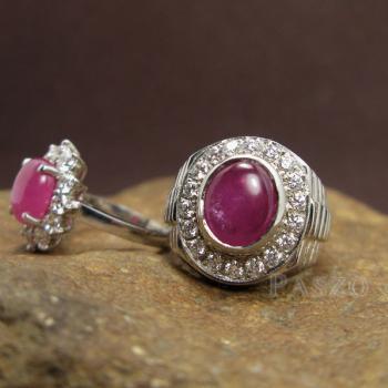 ชุดแหวนครบรอบวันแต่งงาน แหวนเงินแท้ชุบทองคำขาว ฝังพลอยทับทิมแท้ #3