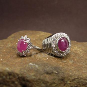 ชุดแหวนครบรอบวันแต่งงาน แหวนเงินแท้ชุบทองคำขาว ฝังพลอยทับทิมแท้ #4