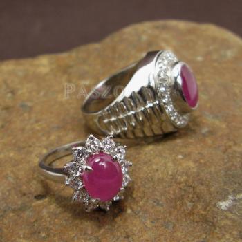 ชุดแหวนครบรอบวันแต่งงาน แหวนเงินแท้ชุบทองคำขาว ฝังพลอยทับทิมแท้ #5