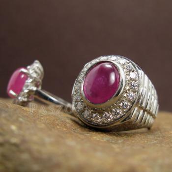 ชุดแหวนครบรอบวันแต่งงาน แหวนเงินแท้ชุบทองคำขาว ฝังพลอยทับทิมแท้ #6